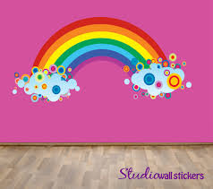 Reusable Rainbow Wall Decal - Childrens Fabric Wall Decal - extra large.  $66.00, via