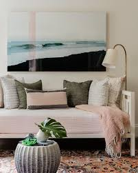 white westelm daybed with pink bedding