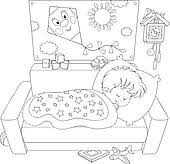 bedroom clipart black and white. slumber party; child sleeping bedroom clipart black and white l
