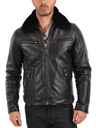 men s black leather jacket with zippers and fur collar