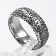 Lashbrook Designs Lashbrook Designs Damascus Steel And Sterling Silver 8mm Wedding Band