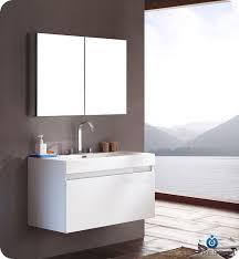 modern bathroom cabinets. Fresca Mezzo White Modern Bathroom Vanity W/ Medicine Cabinet Cabinets