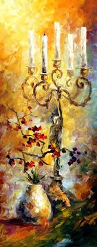 candles palette knife oil painting on canvas by leonid afremov afremov