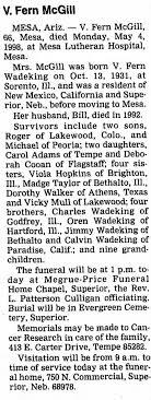 Obituary for V. Fern McGill, 1931-1998 (Aged 66) - Newspapers.com