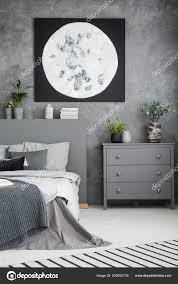 Mond Plakat Oben Grau Schrank Und Bett Modernen Schlafzimmer