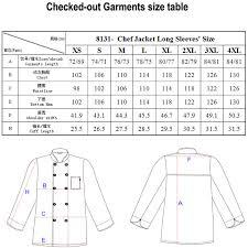 Chef Jacket Size Chart Checkedout Short Sleeve Black Chef Jacket Short Sleeve Chef Coat Unisex Chef Coats Buy Chef Jacket Unisex Chef Coats Kitchen Chef Jacket Product On