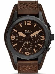 fossil nate chronograph brown leather cuff watch jr1511 men s fossil nate chronograph brown leather cuff watch jr1511