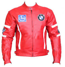 Details About Bmw Motorcycle Biker Jacket Sports Red Leather Motorbike Protective Racer Jacket
