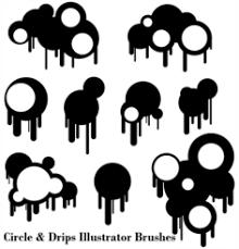 無料の無料の円および滴りイラストレーター ブラシのベクター画像