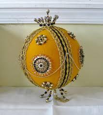 Extra Large Jumbo Vintage Ric Rac Ball 8 Beaded Decoration Vintage Handmade Gold Felt Easter Holiday Decor
