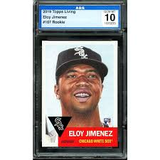His first autographed cards can be found in leaf products from 2013 who quickly pounced on the international star. Eloy Jimenez Rookie Card 2019 Topps Living 167 Ags 10