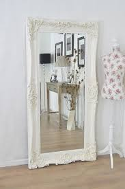 Large Ivory Antique Shab Chic Ornate Wall Mirror 6ft X 3ft Regarding Large White  Shabby Chic
