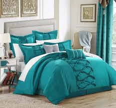 white and teal king bedding