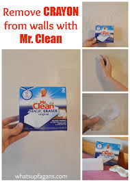 mr clean magic erasers are great at removing crayon from walls even if it