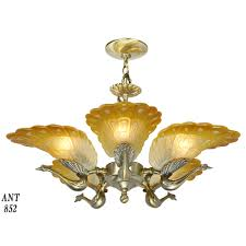 art deco style vintage french peacock 5 light slip shade chandelier ant 852 for