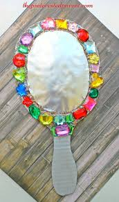 art ideas cardboard jeweled mirror craft for kids arts crafts for pretend play