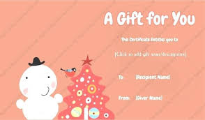 christmas gift card templates christmas gift card template free certificate holiday pop up present