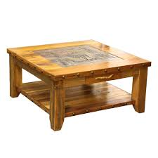 Nailhead Coffee Table Barnwood Elk Scene Tile Top Coffee Table With Nailheads