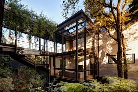 Natural Modern Tree House Designs With Cool Pool Combined With