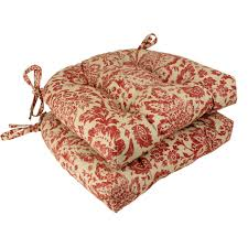 amazon pillow perfect damask reversible chair pad red tan set of 2 home kitchen