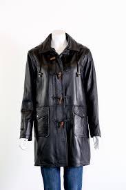 las leather duffle coat