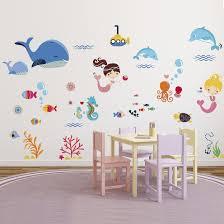 mermaids decorative peel  stick wall art sticker decals for kids