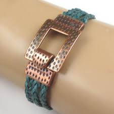 women s braided leather cuff bracelet with copper clasp