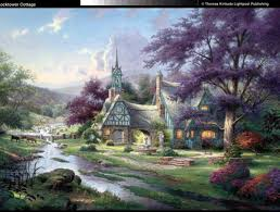 thomas kinkade clocktower cottage painting is shipped worldwide including stretched canvas and framed art this thomas kinkade clocktower cottage painting is