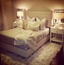 Plain Shag Rug Under Bed Neutral Glam Bedroom Beige White Gold Throughout Modern Ideas