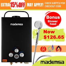 mademsa gas hot water heater portable shower camping lpg outdoor