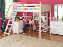 cool loft beds for teenage girls. Fine Girls Pink And White Teenage Girl Room With Cool Loft Bed Features Workspace  Underneath Ladder Metal Handrail Throughout Beds For Girls
