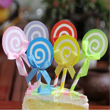 Túi 6 que cắm hình kẹo mút trang trí bánh sinh nhật, kẹo mút trang trí bánh