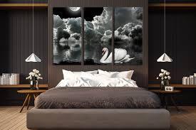 3 Piece Canvas Wall Art Grey Photo Canvas Cloud Wall Decor