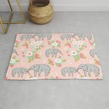 elephants pattern blush pink pastel with fls cute nursery baby animals lucky gifts rug