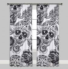 Skull Bedroom Curtains Signature White Sugar Skull Curtains Or Sheers Ink And Rags