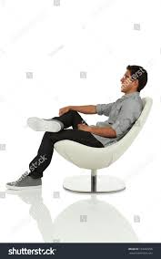 Leaning Chair Design Young Adult Sitting Leaning Back On Stock Photo Edit Now