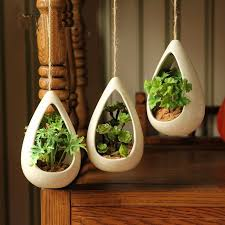 Exquisite home decoration ceramic Hanging pots Fashion Artificial plants  hanging flower pots Hand made fashion hanging
