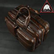 anaph full grain leather men s briefcases double office bags for men 15 inch laptop bag large