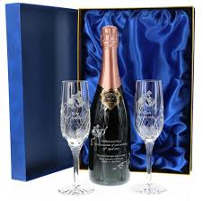 this end rose bollinger set consists of a 75cl bottle of chagne and two panel crystal