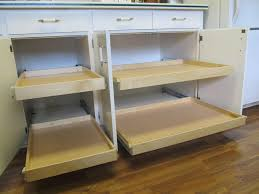 diy custom pull out double tray shelves for kitchen cabinet with drawer painted with white color decoration ideas