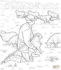 Tested Sheep And Shepherd Coloring Page Liberal Pages The Lord Is My