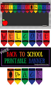 Free Printable Welcome Back Crayon Banner Back To School