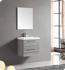 fresca fvn8506ma 24 wall mount matte modern bathroom vanity with mirror and faucet ash gray