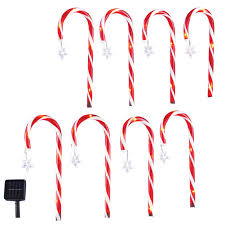 Candy Cane Lights 3 Pack Solar Candy Cane Pathlight Stakes Set Of 8
