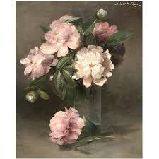 abbott handerson thayer oil painting still life of peonies in glass vase for