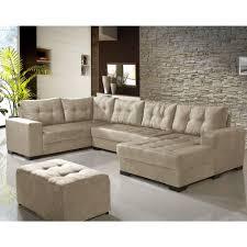 sofá de canto dijon 5 lugares chaise suede cinza claro undefined loading zoom