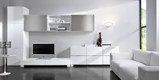 Modern Minimalist Room Simple White Living Room Furniture Dark Grey Floor  Contemporary Lamp Stands