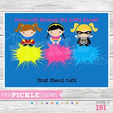 Personalized Superhero Birthday Invitations Superhero Girls Personalized Party Invitation