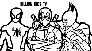 Small Picture Spiderman vs Batman vs Deadpool Coloring Book Coloring Pages Kids