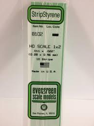 "14"" (35cm) OPAQUE WHITE POLYSTRENE <b>HO SCALE</b> STRIPS (<b>1:87</b>)"